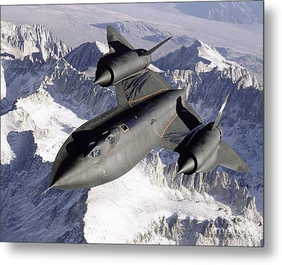 Sr-71b Blackbird In Flight Metal Print by Stocktrek Images