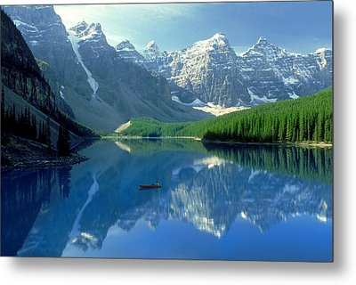 S.short Canoeist, Moraine Lake, Ab, Fl Metal Print by Steve Short