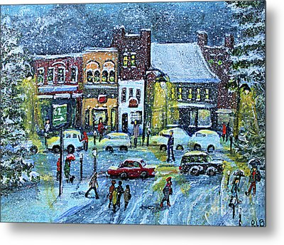 Snowing In Concord Center Metal Print by Rita Brown