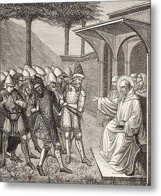 St Benedict Of Nursia Reproaches Metal Print