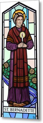 Metal Print featuring the glass art Saint Bernadette  by Gilroy Stained Glass