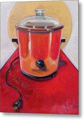 St. Crock Pot In Orange Metal Print by Jennie Traill Schaeffer