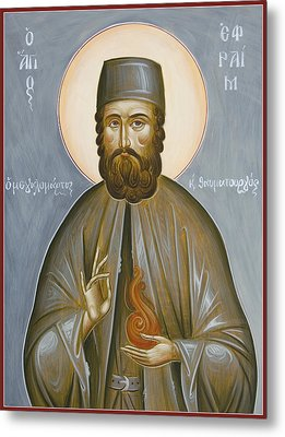 St Efraim Of Nea Makri Metal Print by Julia Bridget Hayes