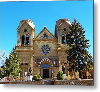 St. Francis Cathedral Santa Fe Nm Metal Print by Joseph Frank Baraba