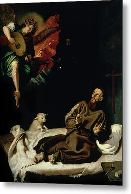 St Francis Comforted By An Angel Musician Metal Print by Francisco Ribalta