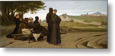 St Francis Of Assisi While Being Carried To His Final Resting Place At Saint-marie-des-anges Blesses Metal Print by Francois-Leon Benouville