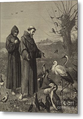 St Francis Preaches To The Birds  Metal Print
