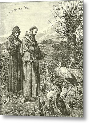 St Francis Preaching To The Birds Metal Print by Henry Stacey Marks