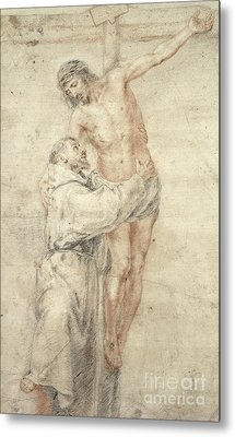 St Francis Rejecting The World And Embracing Christ Metal Print