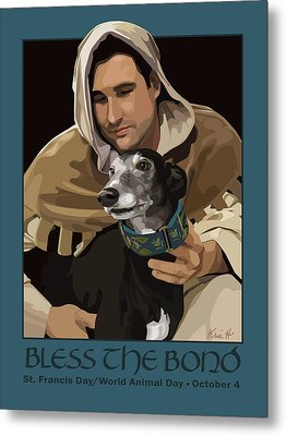 St. Francis With Greyhound Metal Print