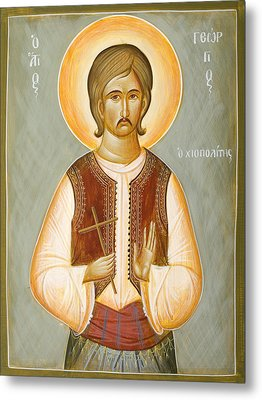 St George The New Martyr Of Chios Metal Print by Julia Bridget Hayes