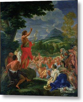 St John The Baptist Preaching Metal Print by II Baciccio - Giovanni B Gaulli