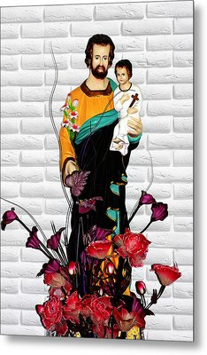 St Joseph Holding Baby Jesus - Catholic Church Qibao China Metal Print by Christine Till