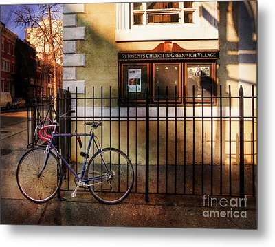 Metal Print featuring the photograph St. Joseph's Church Bicycle by Craig J Satterlee