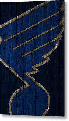 St Louis Blues Wood Fence Metal Print