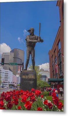 St. Louis Cardinals Busch Stadium Stan Musial Roses Metal Print by David Haskett