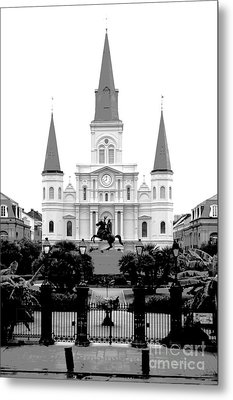 St Louis Cathedral On Jackson Square In The French Quarter New Orleans Conte Crayon Digital Art Metal Print