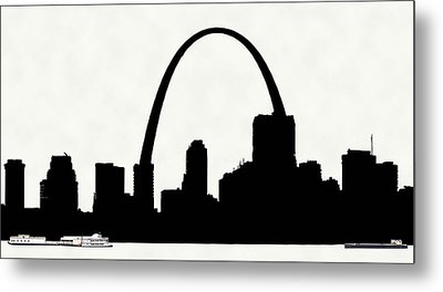 St Louis Silhouette With Boats 2 Metal Print