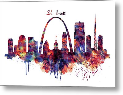 Metal Print featuring the digital art St Louis Skyline by Marian Voicu