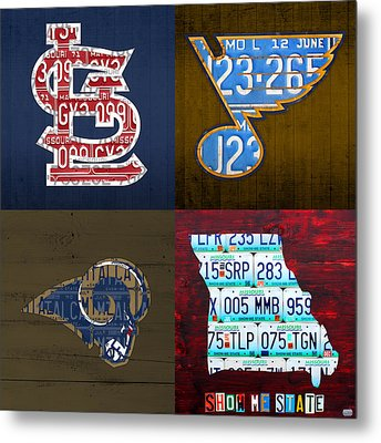 St Louis Sports Fan Recycled Vintage Missouri License Plate Art Cardinals Blues Rams Metal Print by Design Turnpike