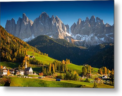 St. Magdalena Alpine Village In Autumn Metal Print by IPics Photography