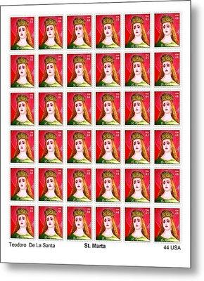 St Marta 36 Postage Stamps Metal Print by Teodoro De La Santa