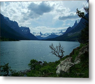 St Mary Lake, Incoming Storm Metal Print