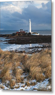 St Mary's Island Winter Metal Print by Bryan Attewell
