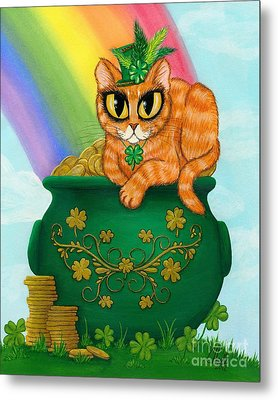 Metal Print featuring the painting St. Paddy's Day Cat - Orange Tabby by Carrie Hawks