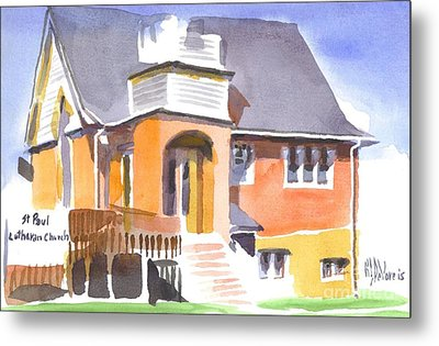 Metal Print featuring the painting St Paul Lutheran In Watercolor 2 by Kip DeVore
