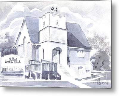 Metal Print featuring the painting St. Paul Lutheran Church 2 by Kip DeVore