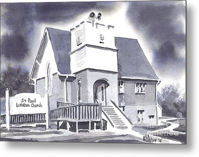 Metal Print featuring the painting St Paul Lutheran With Ink by Kip DeVore