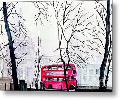 St Pauls Cathedral In The Mist  Metal Print by Morgan Fitzsimons