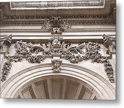 Metal Print featuring the photograph St Paul's Cathedral - Stone Carvings by Rona Black