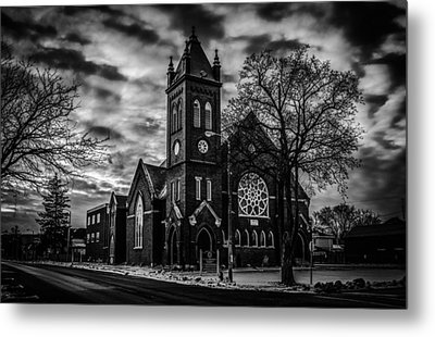 St Pauls United Church Milton  Black And White Metal Print