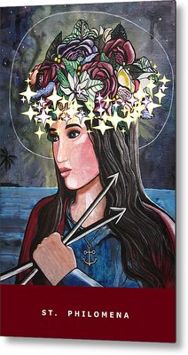 Metal Print featuring the mixed media St. Philomena by Mary Ellen Frazee