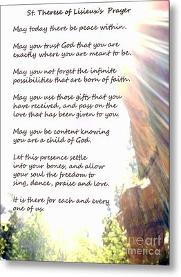 St Therese Of Lisieux Prayer And True Light Lower Emerald Pools Zion Metal Print
