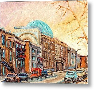 St Urbain Street Scene Baron Byng High School Painting Montreal Memories Carole Spandau              Metal Print
