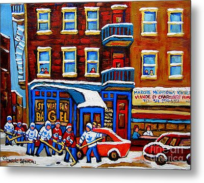 St Viateur Bagel With Hockey Montreal Winter Street Scene Metal Print by Carole Spandau