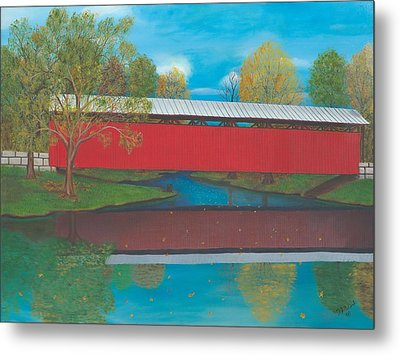 Staats Mill Covered Bridge Metal Print by TJ Word