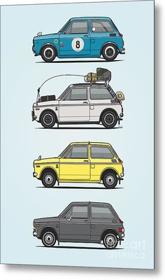 Stack Of Honda N360 N600 Kei Cars Metal Print by Monkey Crisis On Mars