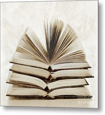 Stack Of Open Books Metal Print