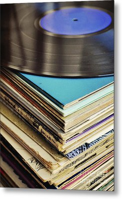 Stack Of Records Metal Print by Lyn Randle