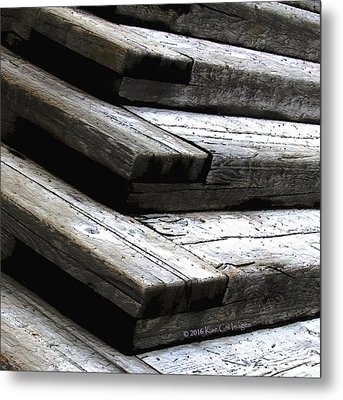 Stacked Stairs Square Metal Print by Kae Cheatham