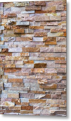 Stacked Stone Rock Wall Background Metal Print