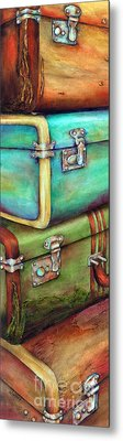 Stacked Vintage Luggage Metal Print by Winona Steunenberg