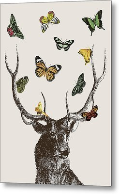 Stag And Butterflies Metal Print by Eclectic at HeART