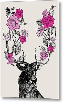 Stag And Roses Metal Print by Eclectic at HeART