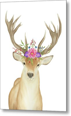 Metal Print featuring the painting Stag Watercolor  by Taylan Apukovska