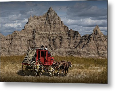 Stage Coach In The Badlands Metal Print by Randall Nyhof